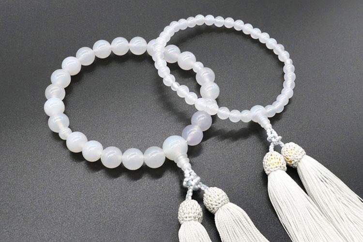白瑪瑙(めのう)ペア数珠