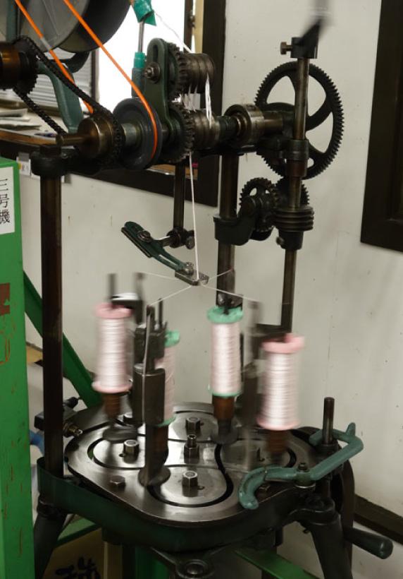 宗派別の本連念珠の軸を編む機械