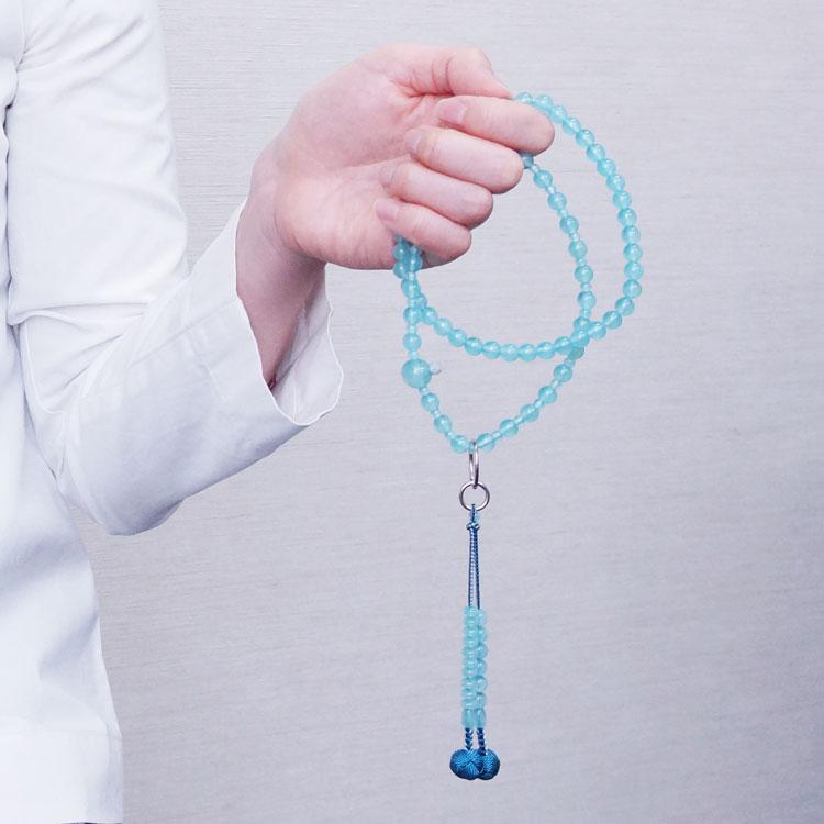 山田念珠堂 シーブルーカルセドニー 8寸 六万繰 共仕立(銀環)
