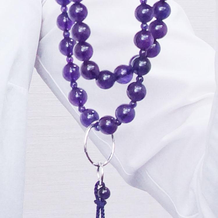 山田念珠堂 紫水晶 9寸三万繰 共仕立(銀環)
