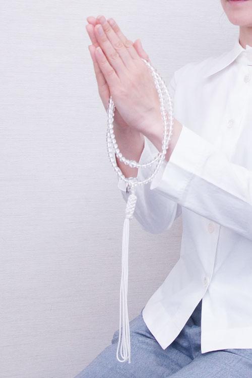 山田念珠堂 水晶 尺0 共仕立(銀環)